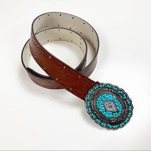 ANOTHER LINE | Turquoise Western Buckle Belt